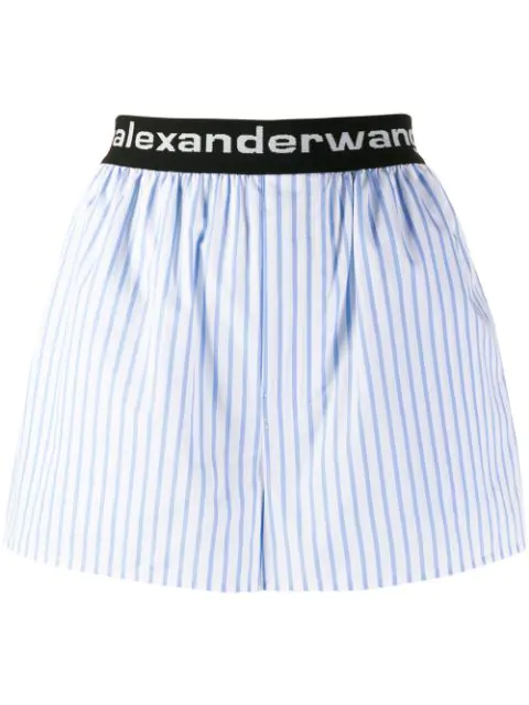 Alexander Wang Logo-embroidered Striped Cotton-poplin Shorts In Blue/white