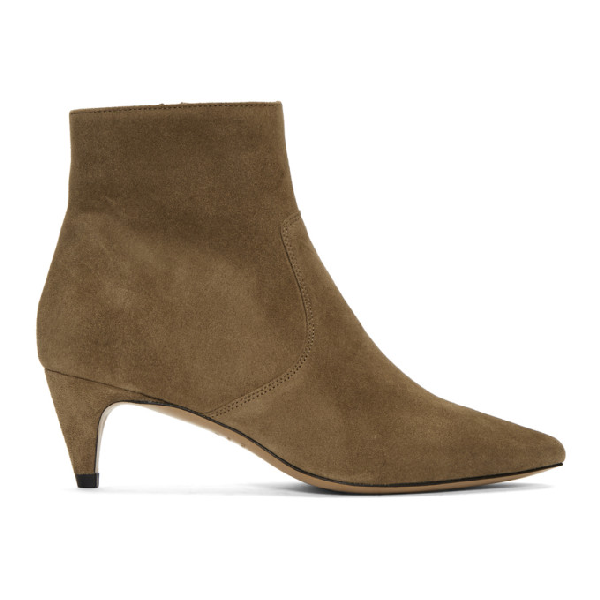 Isabel Marant Derst Point-Toe Suede Ankle Boots In Neutrals