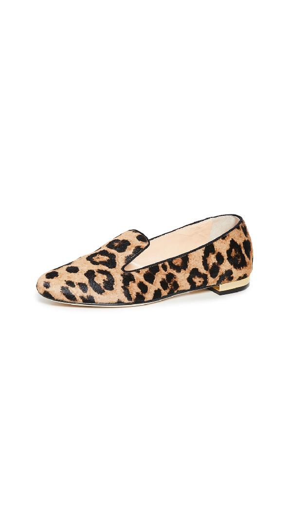 Charlotte Olympia Women's Leopard-Print Fur Smoking Slippers
