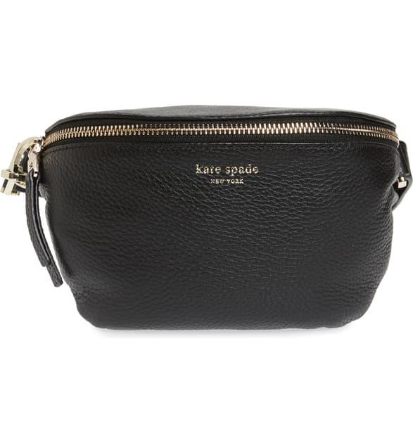 Kate Spade Medium Polly Leather Belt Bag In Black