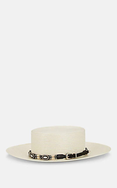 Saint Laurent Embellished Gaucho Hat In White