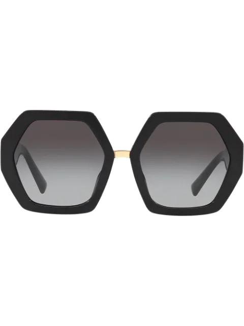 Valentino Hexagonal Oversized V Logo Sunglasses In Black
