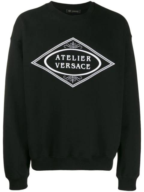 Versace Embroidered Slogan Sweatshirt In A008 Nero