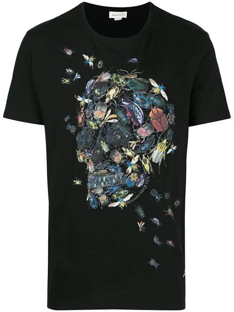 Alexander Mcqueen Beatles Skull Print Cotton T-Shirt In 0901 - Black