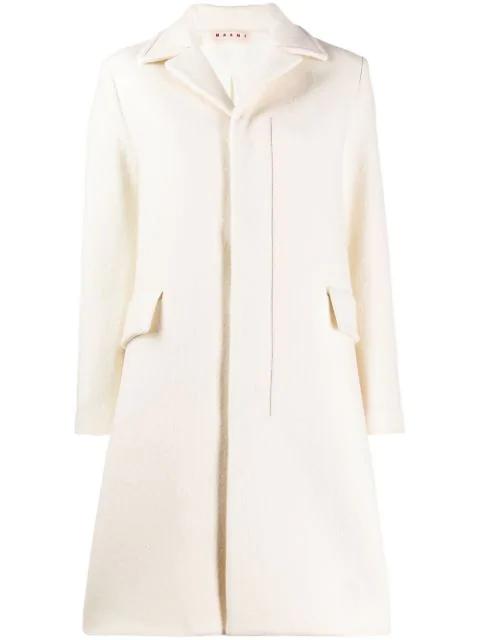Marni Single Breasted Coat In White