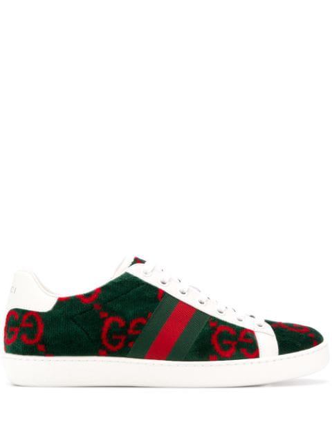 Gucci New Ace Sneakers In 3177 Green White