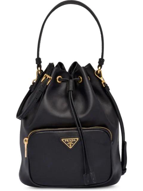 Prada Leather Bucket Bag - Black