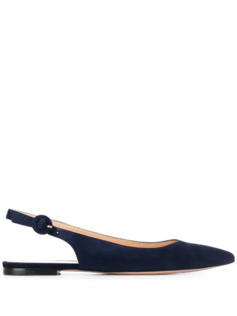 Gianvito Rossi Pointed Ballerina Shoes In Blue
