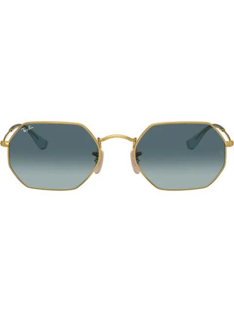 Ray Ban 53mm Rectangular Sunglasses - Gold/ Blue Gradient