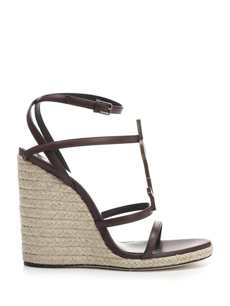 "Saint Laurent Dark Chocolate ""Cassandra"" Wedge Espadrilles"