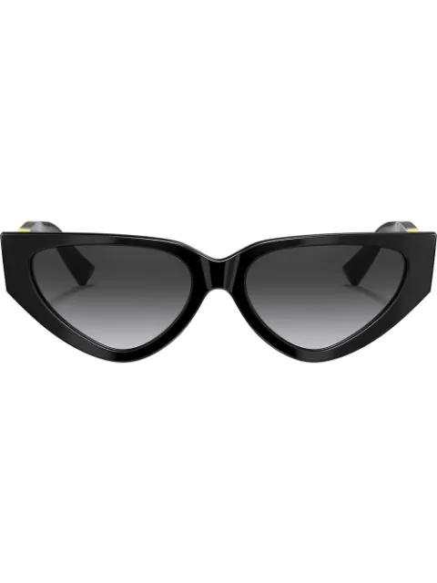 Valentino V Logo Slim Cat Eye Sunglasses In 50018g Black