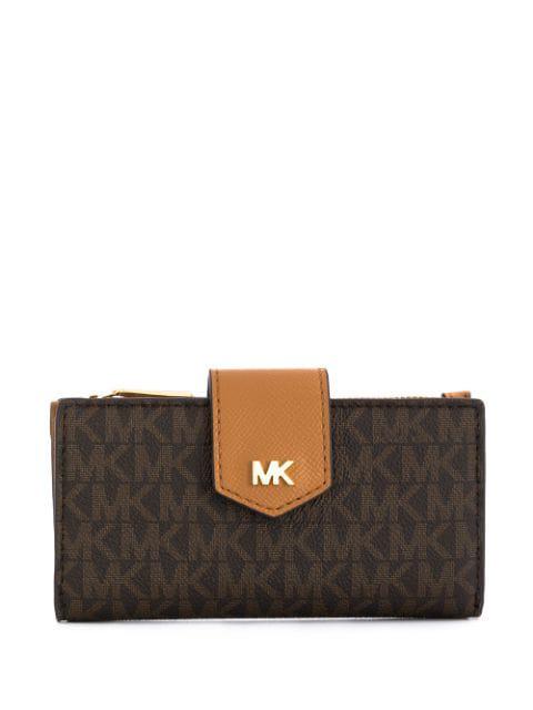 Michael Michael Kors Logo Print Wallet In Brown