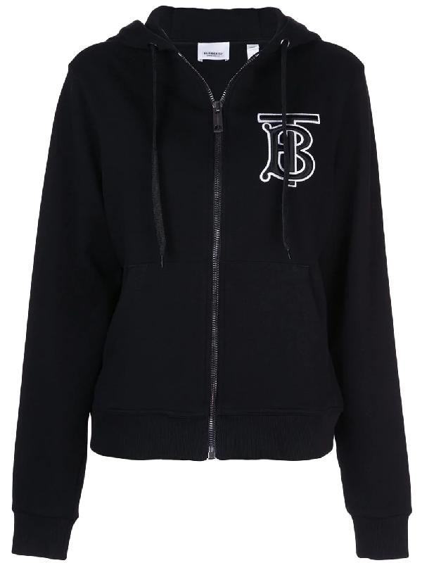 Burberry Monogram Motif Cotton Oversized Hooded Top In Black