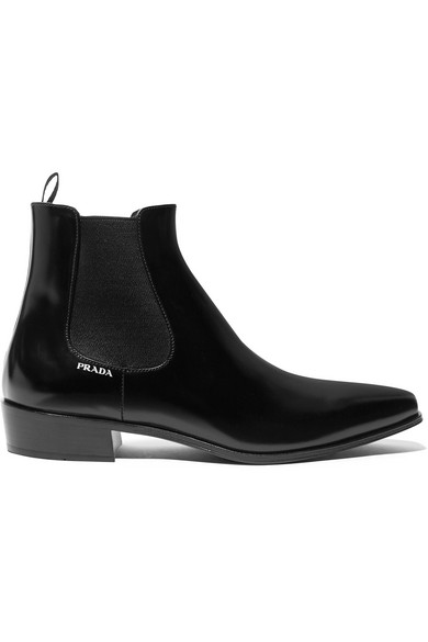 Prada Glossed-Leather Chelsea Boots In Black