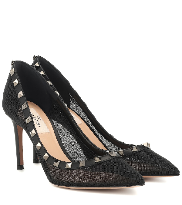 wholesale online check out run shoes Valentino Rockstud Mesh And Leather Pumps In Black   ModeSens