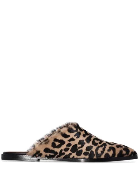 Atp Atelier Anzi Leopard Print Slippers - Brown