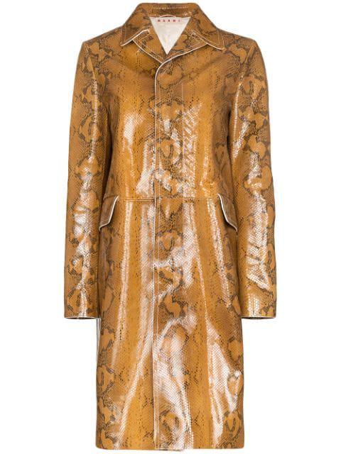 Marni Snakeskin Print Leather Coat In Brown In 00m28 Cigar