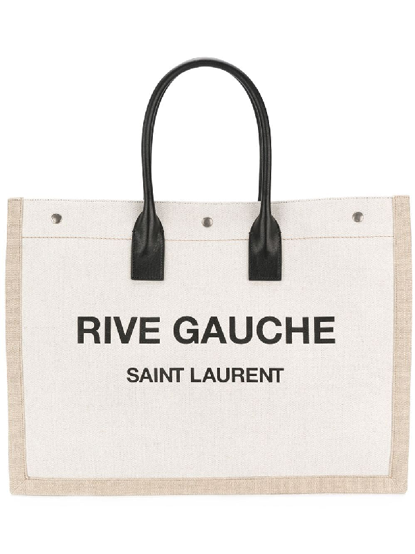 ecf3a1cd9 Saint Laurent White And Black Rive Gauche Linen And Leather Logo Tote In  9280 Natural