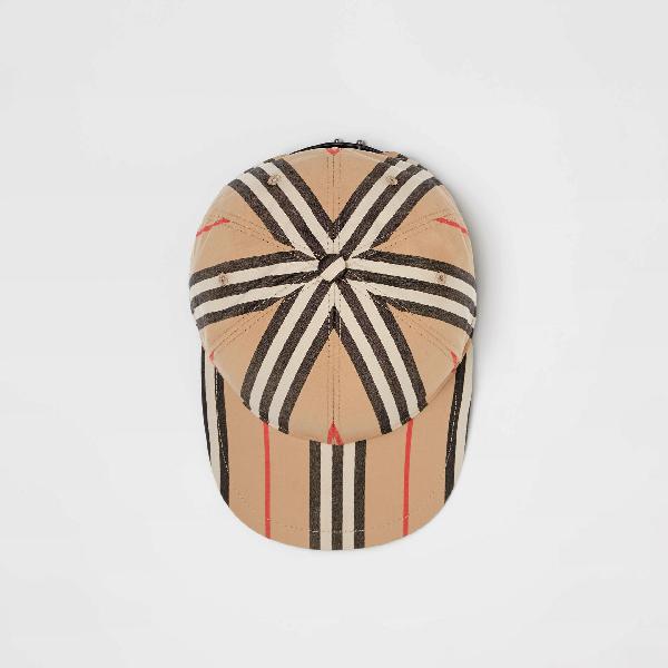 Burberry Kid's Check & Icon Stripe Baseball Cap In Archive Beige