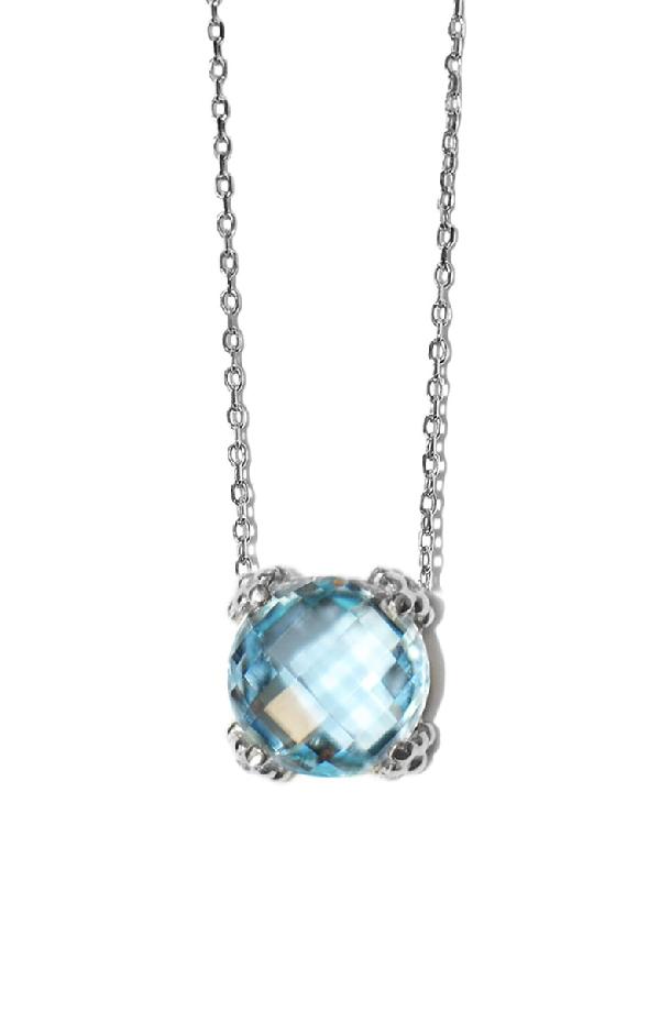 Anzie Dew Drop Rhodium-plated Blue Topaz Necklace