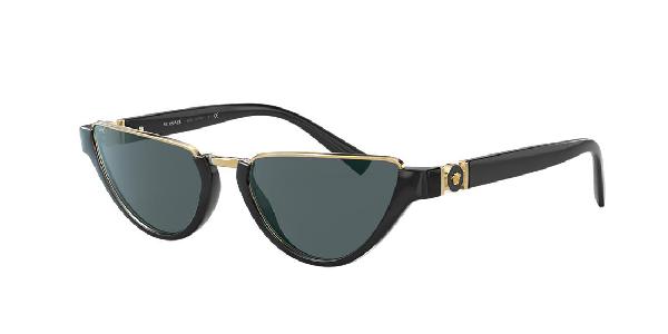 Versace 54Mm Half Moon Sunglasses - Black/ Gold/ Black Solid In Grey-Black