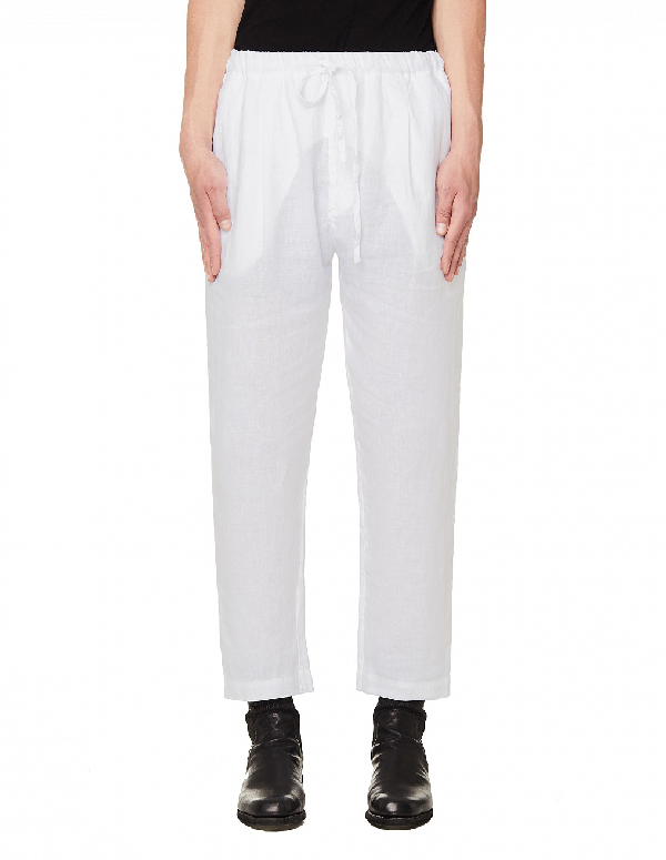 120% Lino White Linen Trousers