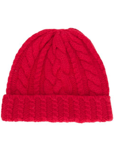 Ami Alexandre Mattiussi Cable Knit Beanie In Red