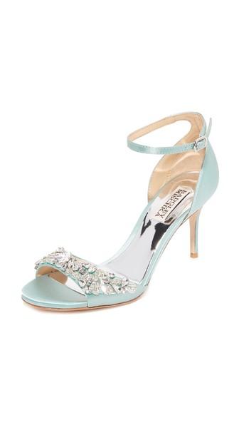 db1b5c60db1 Badgley Mischka Bankston Satin Embellished Ankle Strap High Heel Sandals In  Blue Radiance