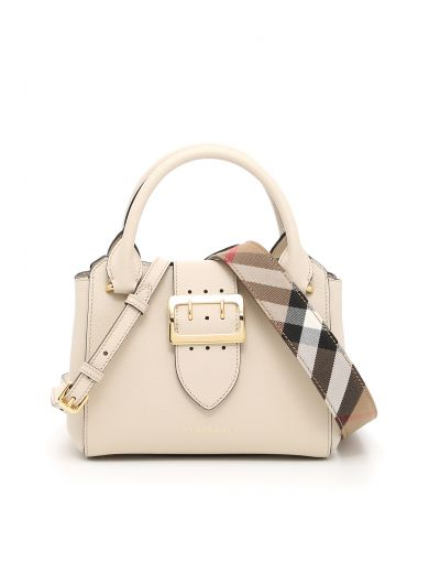 3a3ae6a6b2 Burberry The Medium Buckle Tote In Grainy Leather In Limestone|Bianco