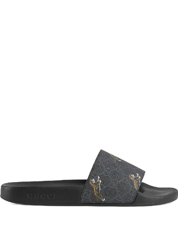 Gucci Men's Pursuit Printed Tiger Slide Sandals In Black