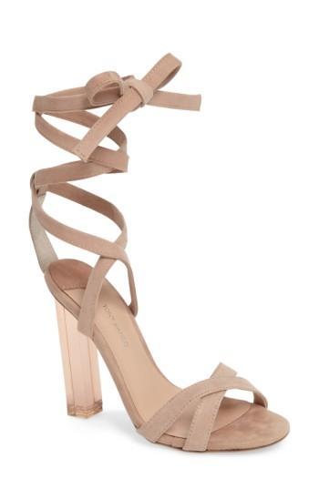 Tony Bianco Komma Translucent Heel Sandal In Blush Suede