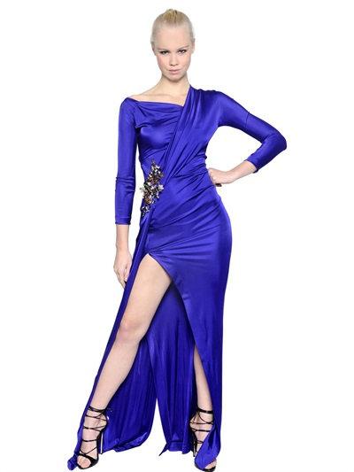 Dsquared2 Embellished Polished Jersey Dress In Purple