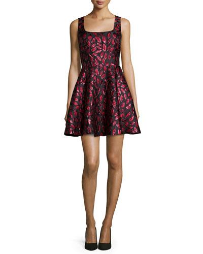 Diane Von Furstenberg Sleeveless Minnie Midnight Kiss A-Line Dress, Oxblood/Black, Lacquer Red/Oxblo