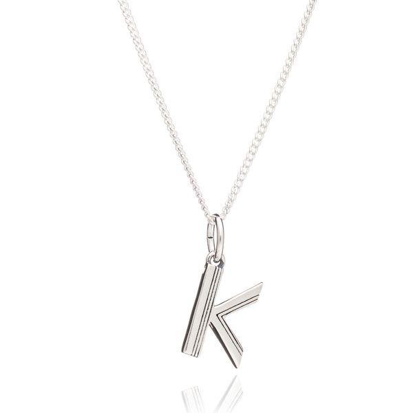 Rachel Jackson London Initial Necklace In Sterling Silver - K