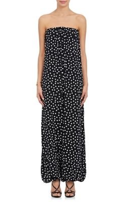 Dolce & Gabbana Polka Dot Stretch-Silk Georgette Strapless Jumpsuit. In Black