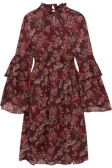 Iro Smocked Floral-print Georgette Dress In Burgundy