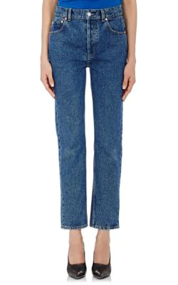 Balenciaga Straight Crop Jeans In Blue