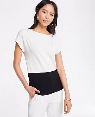 Ann Taylor Petite Colorblock Cap Sleeve Sweater Tee In Winter White