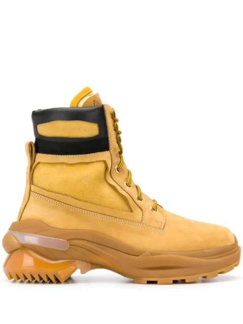 Maison Margiela Union Foam-insert Nubuck Leather Boots In H6914 Mustard