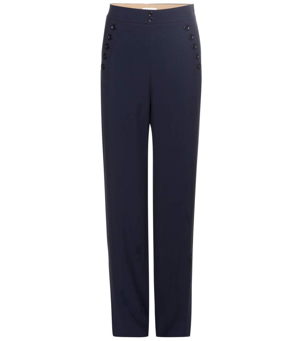 ChloÉ Straight Trousers In Blue