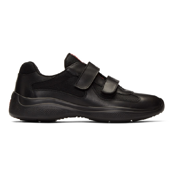 Prada Leather And Technical Fabric Sneakers In Nero