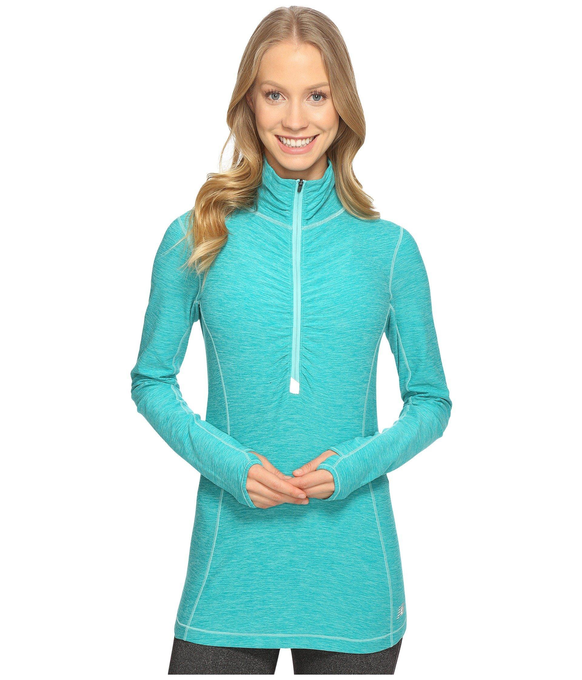 New Balance In Transit Half Zip Jacket In Aquarius Heather
