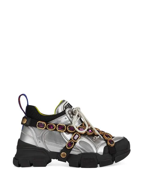 Gucci Silver Flashtrek Sneaker With Removable Crystals In Metallic