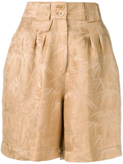 Etro Bamboo Jacquard Shorts In Neutrals