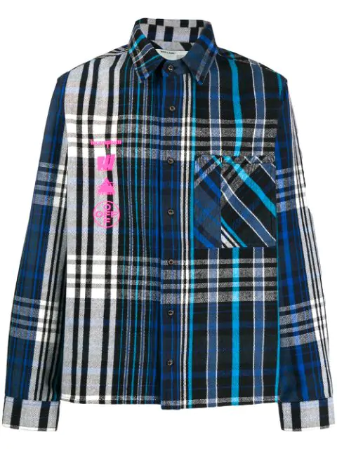 Off-White Printed Checked Cotton-Blend Flannel Shirt In 3088 Blue Multicolor