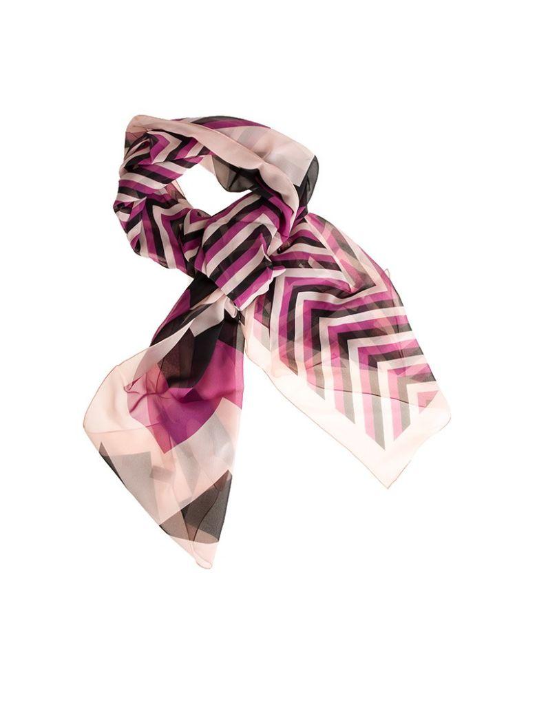 Salvatore Ferragamo Silk Foulard In Black-pink