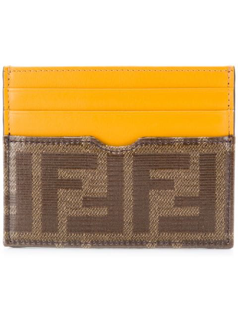 Fendi Ff Logo Slim Cardholder In Yellow