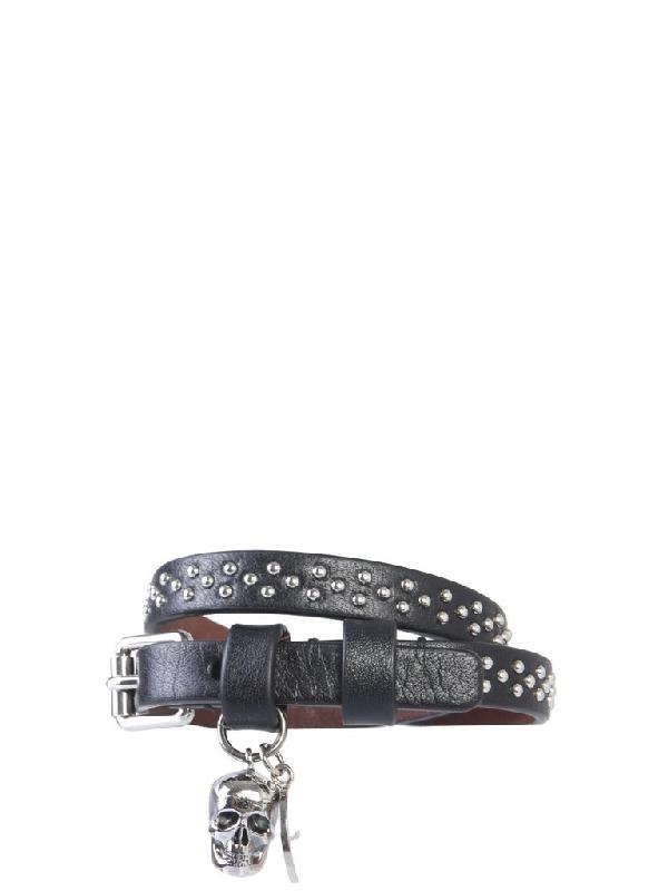 Alexander Mcqueen Double Wrap Skull Bracelet In Black