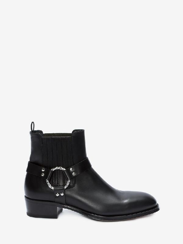 Alexander Mcqueen Harness Leather Chelsea Boots In Black