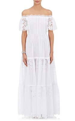 61071a1119f9 Valentino Woman Off-The-Shoulder Broderie Anglaise Cotton-Blend Maxi Dress  White In